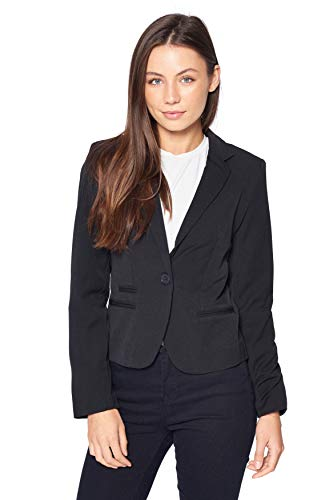 Khanomak Women's Long Sleeve Single Breasted Blazer Jacket (Black, Large)