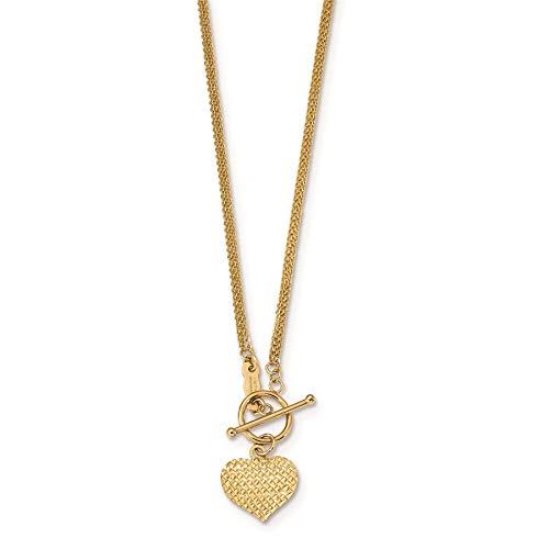 Strand Heart Toggle - 14K Yellow Gold Polished 3-Strand Diamond-cut Heart Toggle Necklace, 18