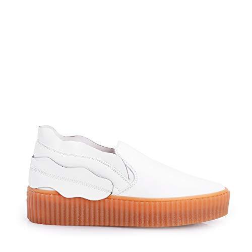 Fiammingo In Bianco Pelle Sneakers On Slip Pinko 8qX4dw8