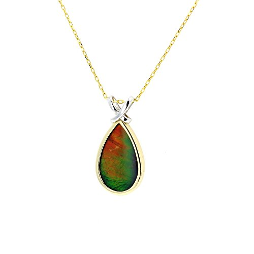 Ammolite Pendant, 14kt White and Yellow Gold Ammolite Pendant with 16