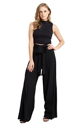 Womens Wide Leg Flare Box Pleat Palazzo High Tie Waist Textured Pants Black - Wash Viscose Hand