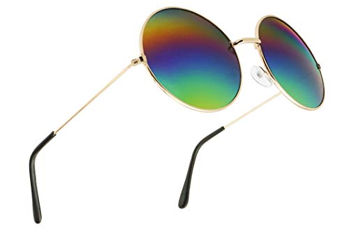 SunglassUP Large Vintage Round Rainbow Mirrored Sunglasses Oversize Hippie Circle Shades (Gold Frame | Rainbow)