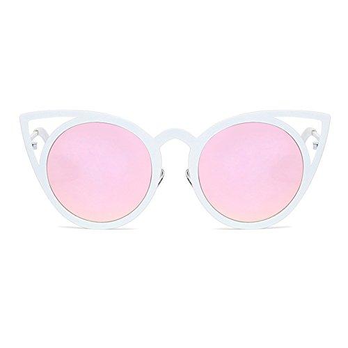 Ronde Mode Lentille Miroir Cadre Femmes Creux Cat de Soleil Lunettes Mxssi Gradient Eye C4 Métal wtxnqI88T