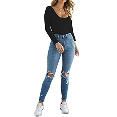 SUNRO Women's Sexy Long Sleeves Round Neck Bodysuits Jumpsuits: Clothing