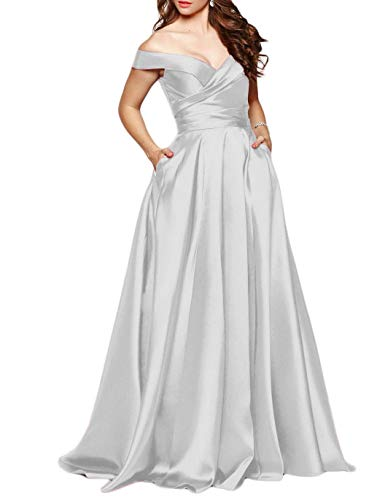 Scarisee Women's Long Off-The-Shoulder Prom Evening Dresses with Pockets Formal A-line Wedding Party Bridesmaid Gowns Silver 18 Plus ()