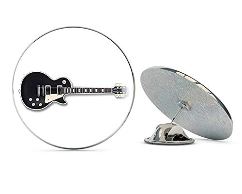 NYC Jewelers Black Gibson LES Paul Style Guitar Shaped (Guitarist Electric Play Band Rock) 2 Metal 0.75