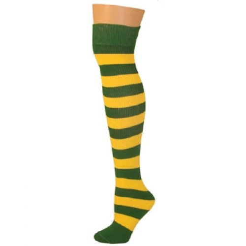 AJs Adult Long Knee High Striped Socks - Kelly/Gold, Sock size 11-13, Shoe Size 5 and up
