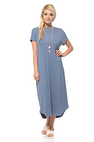 iconic luxe Women's A-Line Short Sleeve Midi Dress X-Large Denim