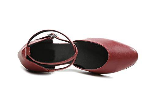 ZHRUI ZHRUI Vitello Vitello Vitello 5 Cinturino Ballo Latino Bordeaux 6 di UK da da Scarpe Colore Dimensione con Ballo Donna Pelle da Donna per Color Incrociato CCpvr