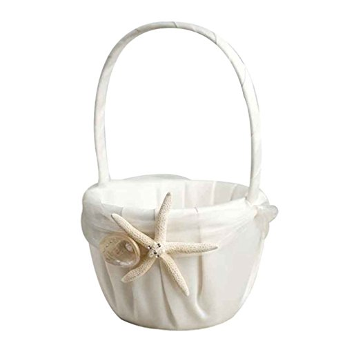 - WElinks Wedding Flower Basket, Beach Theme Stafish Seashell Design Wedding Girls Flower Basket, Wedding Romantic Flower Girl Baskets for Wedding Ceremony Party Birthday Party Baby Shower Favors