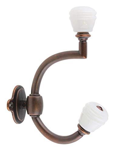 - Oil Rubbed Bronze & Milk White Glass Barrel Knob Hat and Coat Hall Tree Hook - Vintage, Antique, Decorative Mudroom Furniture Restoration + Free Bonus (Skeleton Key Badge) DL-P2351PT-OB-GBK3MW (1)