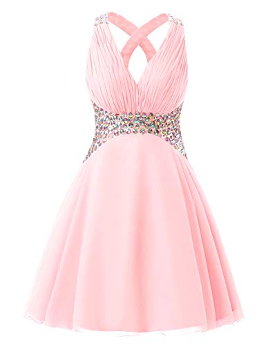 Homecoming Party Backless Bess Chiffon Pink V Bridal Dress Short Women's Blushing Neck Beaded f6q8ZU