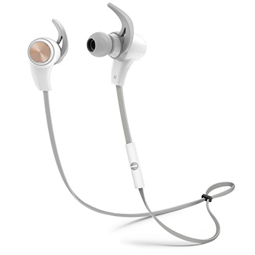 1byone Bluetooth 4.1 Wireless In-Ear Headphones, Sports Earphones with HD Stereo Sound & Modern, Sweat-Proof and Ergonomic Design, White & Grey