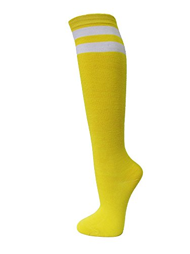 COUVER Bright Yellow Women Junior 2 White Striped Knee High Fashion Casual Tube Cotton Socks(1 Pair)
