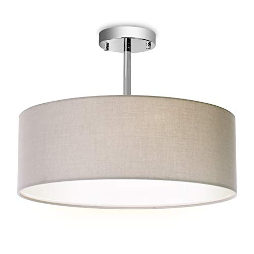Ceiling Light, Semi-Flush Mount Modern Fabric Pendant Light Shade, Large Grey Drum Lampshade, Round Pendant Lamp, for Bedroom Living Room, Flush Chrome Matt, 3 Bulbs Drum Shade Pendant Lamp