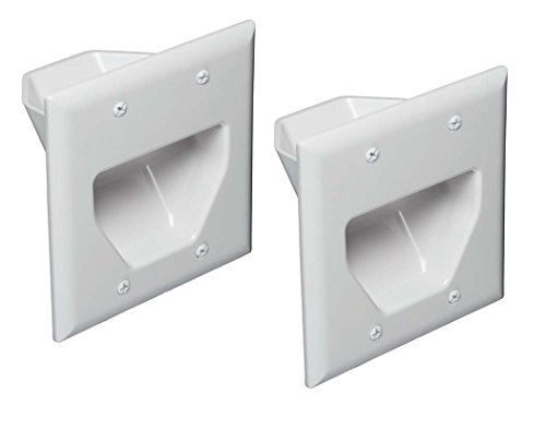 Low Plate Cable Recessed Voltage - Datacomm 450002WH-2 2 Gang Recessed Low Voltage Cable Plate- 2 Pack