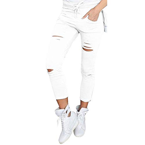 POQOQ Pants Women's Skinny Ripped High Waist Stretch Slim Pencil Trousers XS -