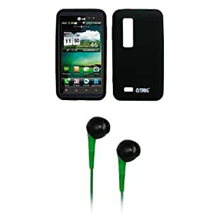 EMPIRE Black Silicone Skin Cover Case + Green 3.5mm Stereo Headphones for AT&T LG Thrill 4G P925