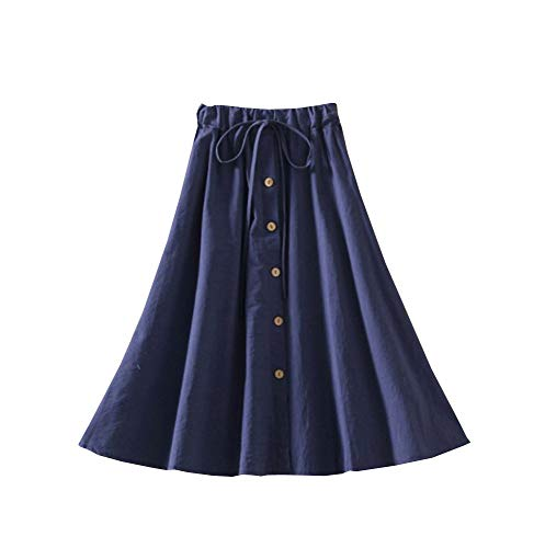 - Allonly Women's A-Line High Waisted Button Front Drawstring Pleated Midi Skirt with Elastic Waist Knee Length Navy