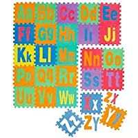 Akrobo Puzzle Eva Mat 26 Piece Big & Small ABC Tiles Each 1 x 1 Foot Alphabet Thick Foam Play (Multicolour)