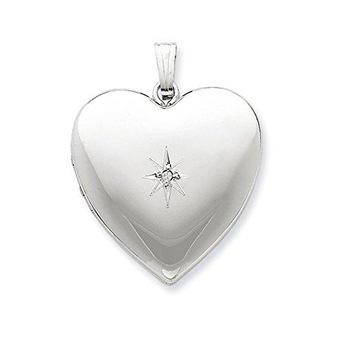 24mm .01 Ct Diamond Star Design Heart Shaped Locket in Sterling Silver -
