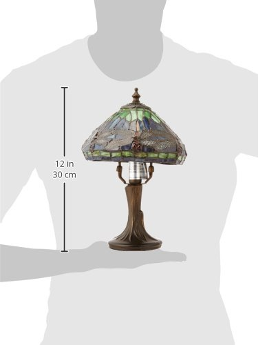 020258029479 - Dale Tiffany 7601/521 Dragonfly Table Lamp, Antique Brass and Art Glass Shade carousel main 1