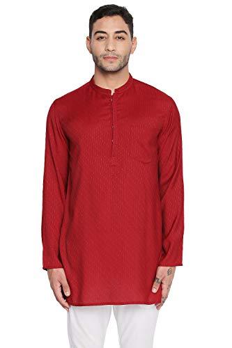 - Shatranj Men's Indian Mandarin Collar Handcrafted Dobby Embroidered Kurta Tunic; Maroon; MD
