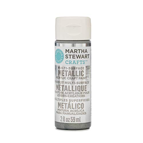 Martha Stewart Crafts Multi-Surface Metallic Acrylic Craft Paint in Assorted Colors (2-Ounce), 32128 Sterling
