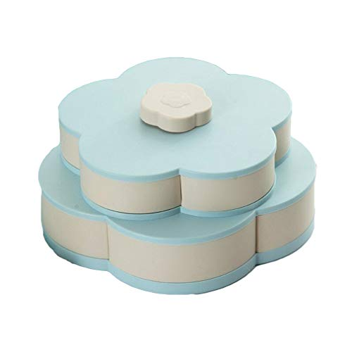 Bloom Box - Life-Bloom Snack Box,Snack Tray Petal-Shaped Rotating Candy Box (Blue Double)