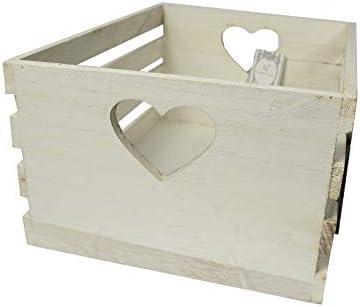 Cassetta in Legno Bianco con Cuore per Frutta Portaoggetti Home 31 x 23 cm Decoupage Fair