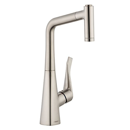 hansgrohe Metris Premium 1-Handle 15-inch Tall Stainless Steel Kitchen Faucet with Pull Down Sprayer Magnetic Docking Spray Head in Steel Optic, 04508800