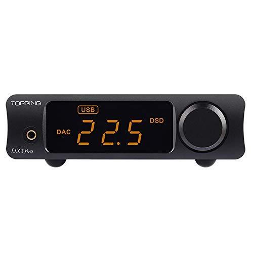 Price comparison product image Topping DX3 Pro Headphone Amplifier DAC DSD512 PCM32bit / 768kHz XMOS XU208 APTX USB Bluetooth Decoder Headphone Amplifier (Black)