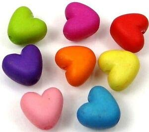 50 Mixed Color Frosted Matte Acrylic Heart Beads Spacer 10x9mm Spacer Beads and Roll Crystal String for Bracelets Jewelry Making