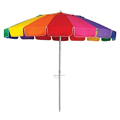 New 8' Beach Umbrella UV Protected Vented Outdoor Beach Shade Sand Anchor Carry Bag Tilt Aluminum Pole Rainbow (8', Rainbow)