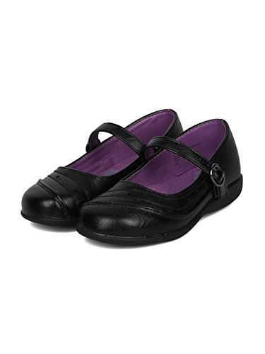 Girls Leatherette Mini Star Applique Mary Jane Uniform Shoe HD37 - Black Leatherette (Size: Big Kid 3) by Alrisco (Image #4)