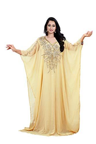KoC Women's Kaftan Maxi Dress Farasha Caftan KFTN112-Beige