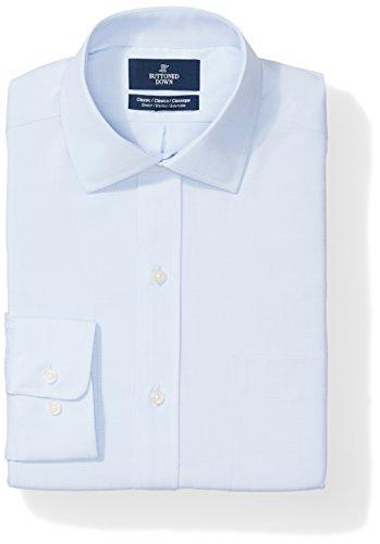 (BUTTONED DOWN Men's Classic Fit Stretch Poplin Non-Iron Dress Shirt, Light Blue, 15.5