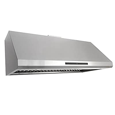 Cosmo COS-18U48 48-in Under-Cabinet Range Hood 1000-CFM Ductless Convertible Duct, Kitchen Stove Vent LED Light, Dual-Motor 4 Speed Exhaust, Fan Timer, Permanent Filter, (Stainless Steel)