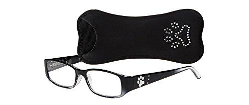 Select-A-Vision Dog Bone Rectangular Reading Glasses w/Single Pawprint, Black, ()