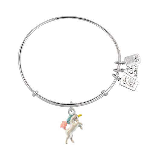 (Wind and Fire Unicorn Charm Enamel Silver Tone Rhodium Plated Bangle Bracelet WF554E)