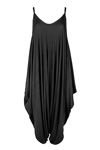 Oops Outlet Women's Thin Strap Lagenlook Romper Baggy Harem Jumpsuit Playsuit Plus Size (US 16/18) Black