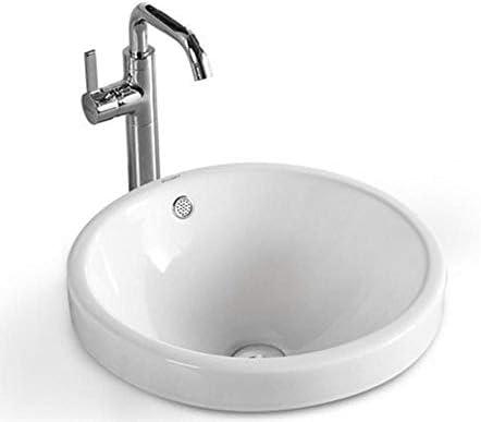 洗面ボウル 浴室船舶のシンクラウンド上記カウンターホワイト磁器ヴァニティボウルシンク 浴室の台所の流し (Color : White, Size : 46x46x17cm)
