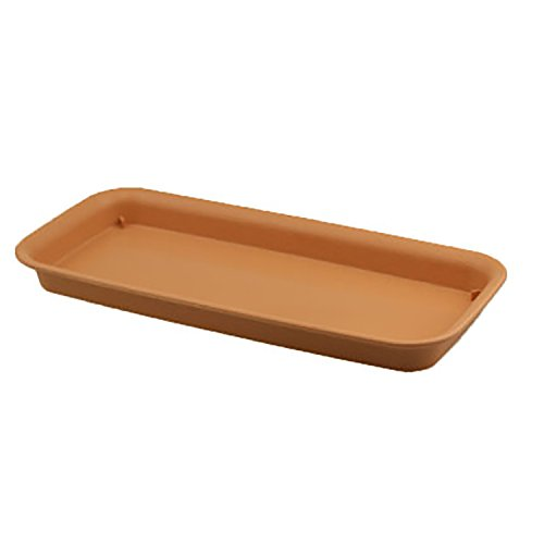 Trays Flower Box - rescozy 12 Inch (Outside Length) Plastic Rectangular Planter Tray Flower Pot Saucer, Light Brown
