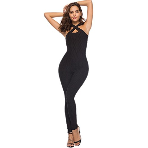 (TOPUNDER Women's One-Piece Sport Yoga Pants Jumpsuit Running Fitness Workout Gym Tight Black)
