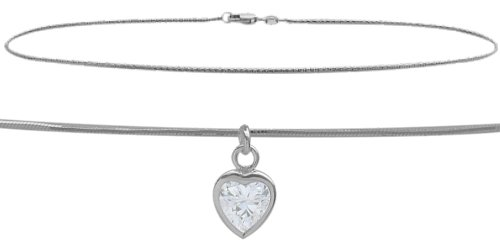 10K White Gold 9'' Snake Style 0.85tcw. White Topaz Heart Charm Anklet by Elite Jewels