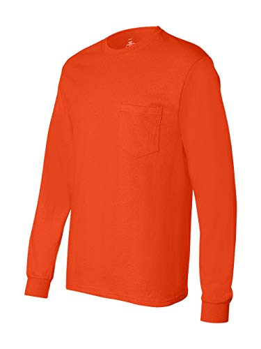 Hanes Men's Tagless Long Sleeve T-Shirt with a Pocket - X-Large - Orange Boys Utility Long Sleeve
