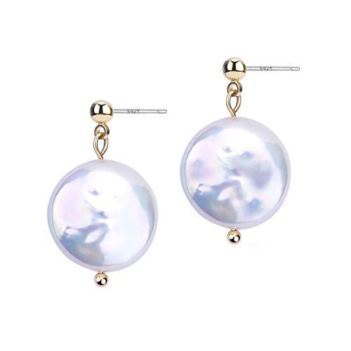 BOUTIQUELOVIN Large White Coin Pearl Drop Earrings Freshwater Cultured Disc Pearls Gold Simple Dangle Stud Earrings for Women Girls