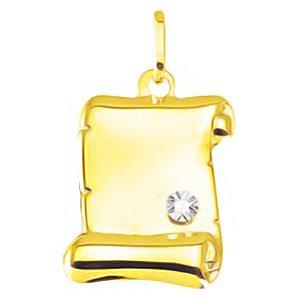 So Chic Bijoux © Pendentif Parchemin Diamant 0,006 ct Or Jaune 750/000 (18 carats) - Personnalisable : gravure offerte