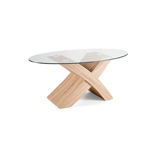 Tito - Mesa de centro de madera y cristal ovalada, para salón ...