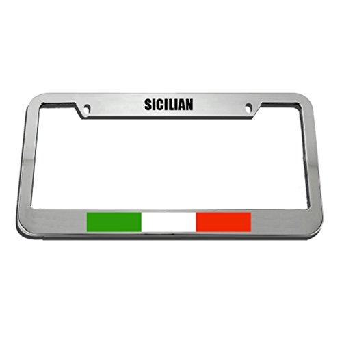 Speedy Pros Sicilian Italian Italy Sicily Country License Plate Frame Tag Holder by Speedy Pros